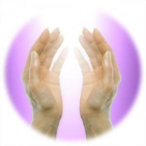 hands receiving healing energy
